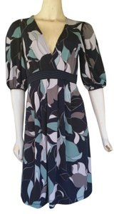 BCBGMAXAZRIA short dress Navy Blue Floral Slinky Navy on Tradesy