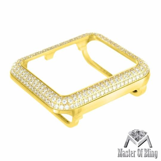 Apple Yellow Gold Finish Watch Bezel For Apple 38 MM Watch Stainless Steel Lab Diamond