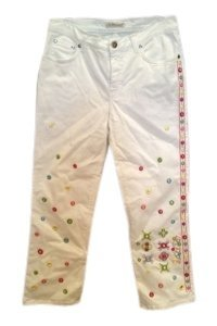 Blumarine Embroidered Embellished Straight Leg Jeans