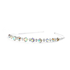Delicate Graduated Iridescent Ab Crystal & Clear Rhinestone Prom Or Wedding Bridal Headband