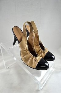 Chanel Tan Leather Patent Cap Toe Sling Back Heels Black/ Tan Pumps