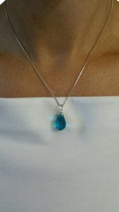 Pendant Necklace With Beautiful Silver Faceted Drop Blue Topaz ,16in