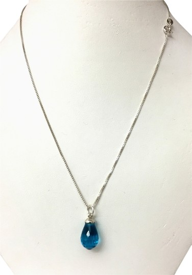 Other Pendant Necklace With Beautiful Silver Faceted Drop Blue Topaz ,16in