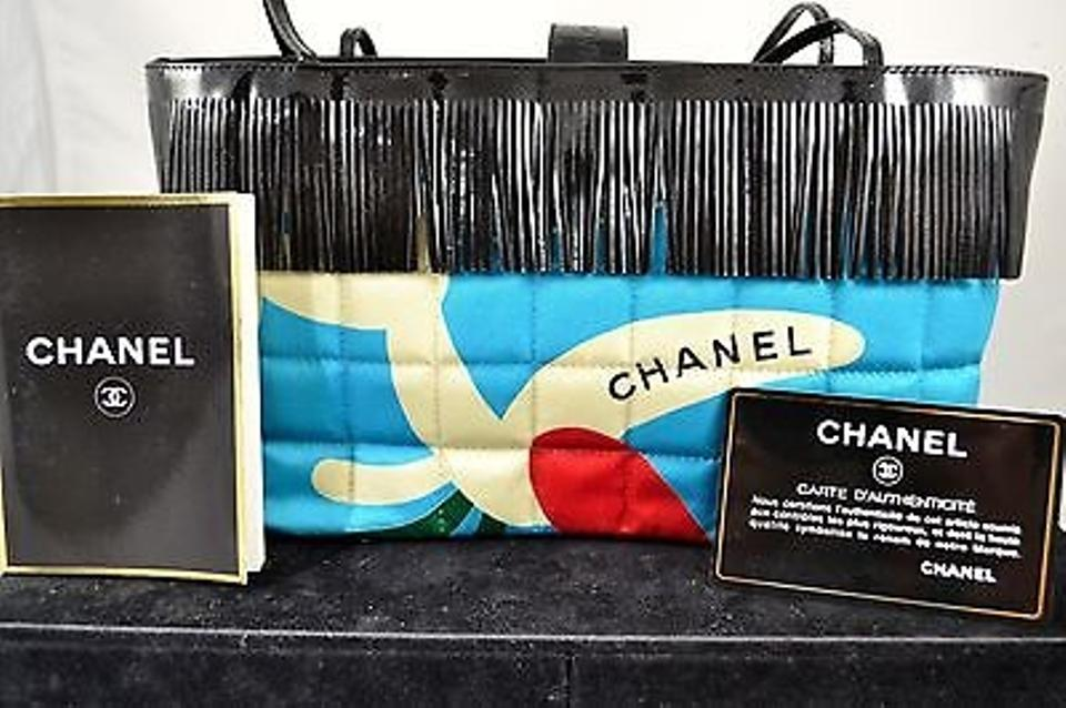 ebe78393bcdd Chanel Vintage Cc Black Patent Leather Fringe Blue Fabric Tote Made In  France