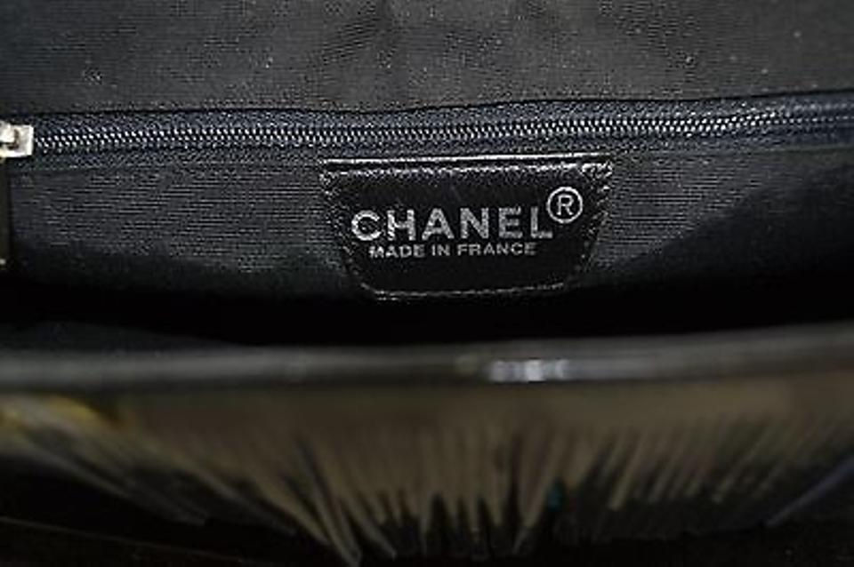 03345d190eb7 Chanel Vintage Cc Black Patent Leather Fringe Blue Fabric Tote Made In  France Shoulder Bag Image. 123456789