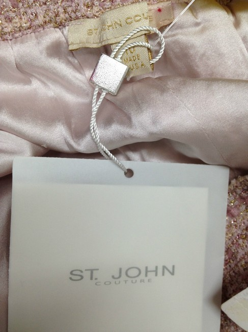 St. John Couture Pearl W Gold Flecks Knit Skirt Pink