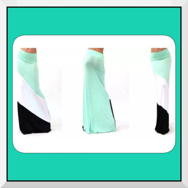 Other Extra Long Soft Comfy Slimming Maxi Skirt Mint Green/Black/White