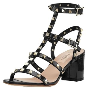 Valentino Leather Chevron Studded Black Sandals