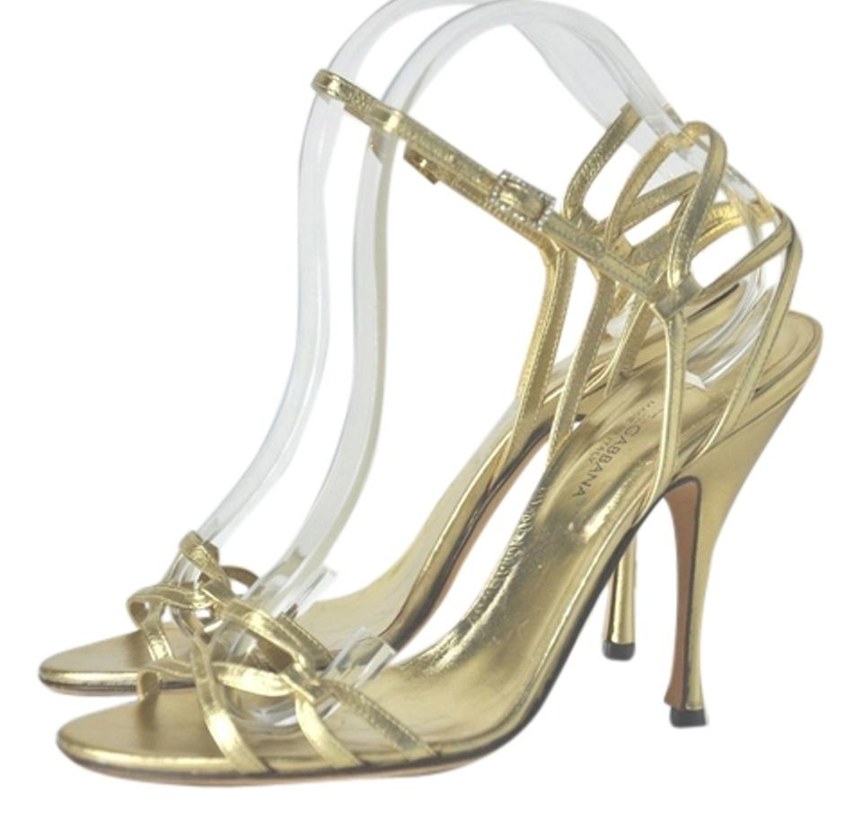 69610e634d0 Dolce&Gabbana Gold Dolce & Gabbana Leather Strappy with Rhinestone Buckle  Sandals Size US 9 Regular (M, B)