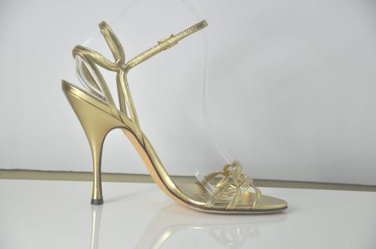 Dolce&Gabbana Dolce & Gabbana Leather Strappy Rhinestone Buckle Size 39.5 Condition 8/10 Gold Sandals