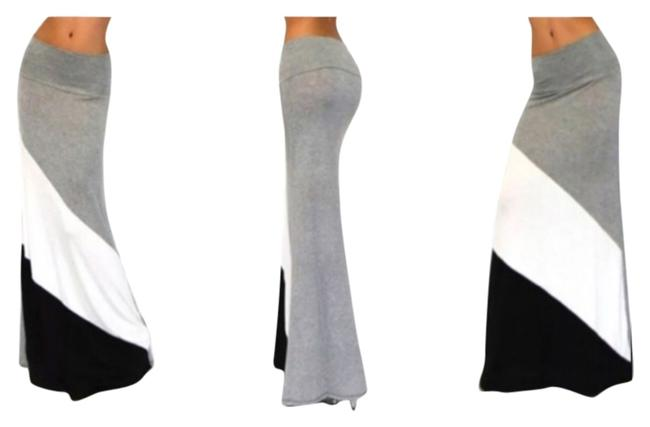 Other Extra Long Slimming Soft Maxi Skirt Gray/Black/White
