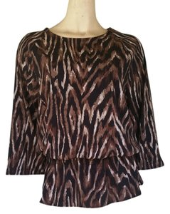 Chico's Animal Print Top Brwon