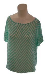 POINT Sheer Back Button Nwot Top Mint Green and White