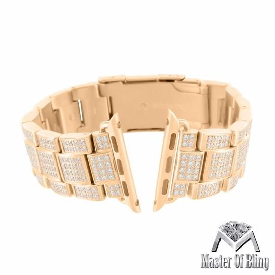 Apple Rose Gold Finish Watch Bracelet For Apple Watch Simulated Lab Diamond 30 MM Mens