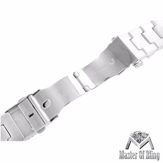 Apple White Gold Finish Apple Watch Bracelet 42 MM Solid Stainless Steel Lab Diamonds