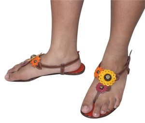 Moschino Leather Italy orange Sandals