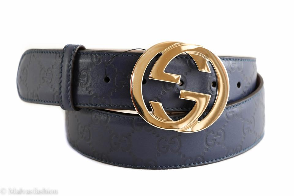 d17ebb99e43 Gucci Blue Guccissima Leather with Interlocking G Buckle 95 38 Belt ...