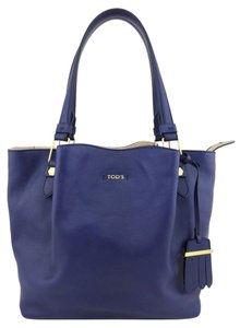 Tod's Leather Gold Hardware Logo Tote in Blue