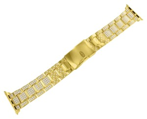 Apple Yellow Gold Finish Apple Watch Bracelet Band Simulated Diamonds 38 MM Brand New