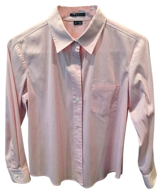Theory 3/4 Sleeve Suiting Basic Button Down Shirt Soft Red/White Tattersall Check