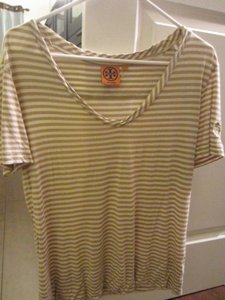 Tory Burch Stripped Yellow T Shirt Beige Striped