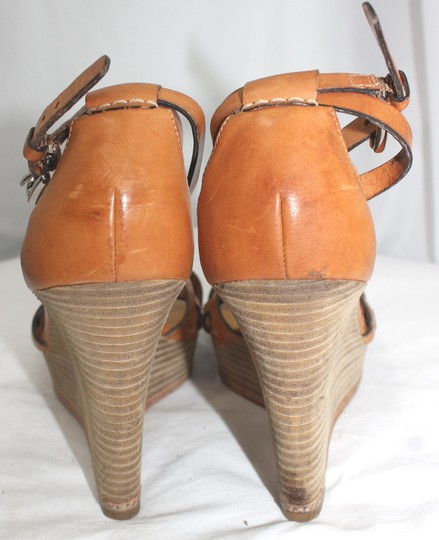 Coach Leather Wooden Wedges 10 BROWN Platforms