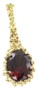 10K SOLID YELLOW GOLD PENDANT NUGGET RED STONE PENDANT DROP NOT SCRAP FINE JEWEL
