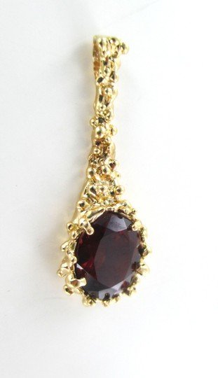 Other 10K SOLID YELLOW GOLD PENDANT NUGGET RED STONE PENDANT DROP NOT SCRAP FINE JEWEL
