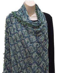 Tory Burch Light Ivy Grid Block Oblong Scarf