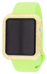 Apple Lime Green Diamond Apple Watch 14k Gold Tone Bezel Silicone Rubber Strap 42 MM
