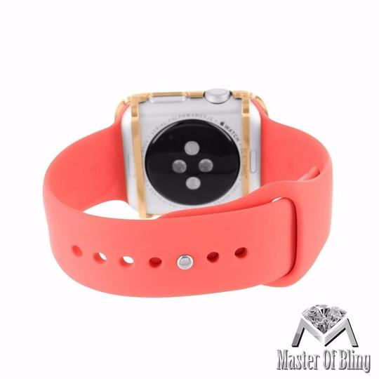 Apple Rose Gold Finish Real Diamond Apple Watch Pink Silicone Strap 42 MM Digital IOS