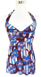 T-Bags Los Angeles Geometric Abstract Stretchy Soft Blue Halter Top