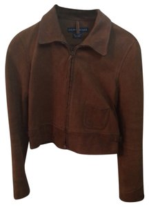 Ralph Lauren Coat Bomber Brown Leather Jacket