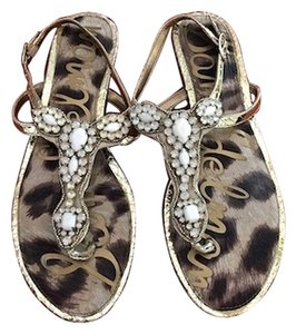 Sam Edelman Gemstones Gold Stunning white gemstone/gold foil Sandals