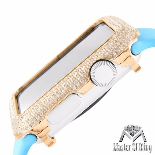 Apple Lab Diamond Iced 14k Yellow Gold Stainless Steel Case Band 42mm Apple Watch