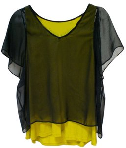 A'reve Top black, mustard green