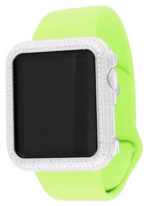 Apple Green Bracelet Apple Diamond Watch 3ct 14K White Gold Finish 42 MM Mens Silicone