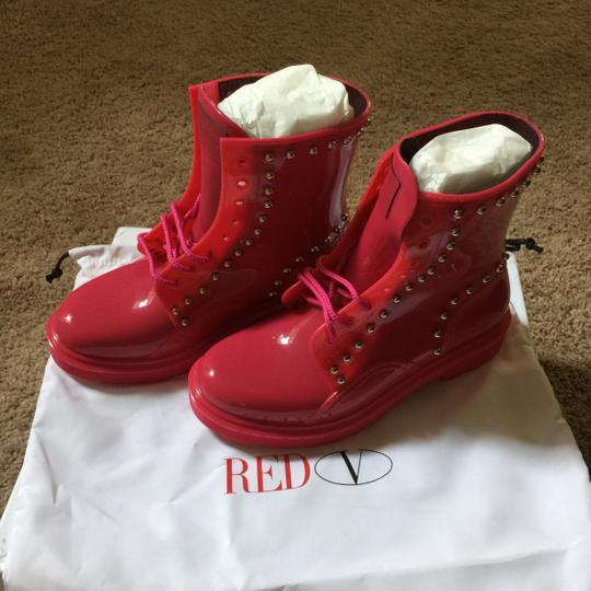RED Valentino Combatboots Studded Chic Neon Pink/ Hot Pink Boots