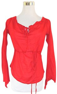 Sisley Boatneck Longsleeve Peassant Light Weight Off The Shoulder Top Red