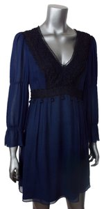 Nanette Lepore short dress Navy Blue Bohemian Empire Waist 3/4 Sleeves Flowy Tunic on Tradesy