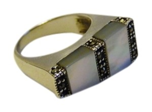 Other Artisan Crafted .925 Sterling Silver Marcasite Mother of Pearl Ring Size 7