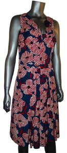 Moschino short dress Red White Blue Floral Sleeveless Silk V-neck on Tradesy