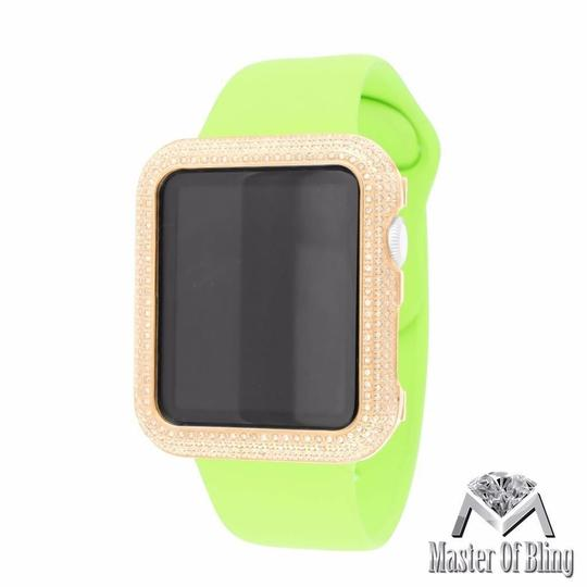 Apple Rose Gold Finish Apple Watch IOS Display Green Rubber Band 42 MM Genuine Diamond