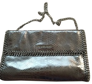 Michael Kors Silver Leather Chain Link Clutch Shoulder Bag