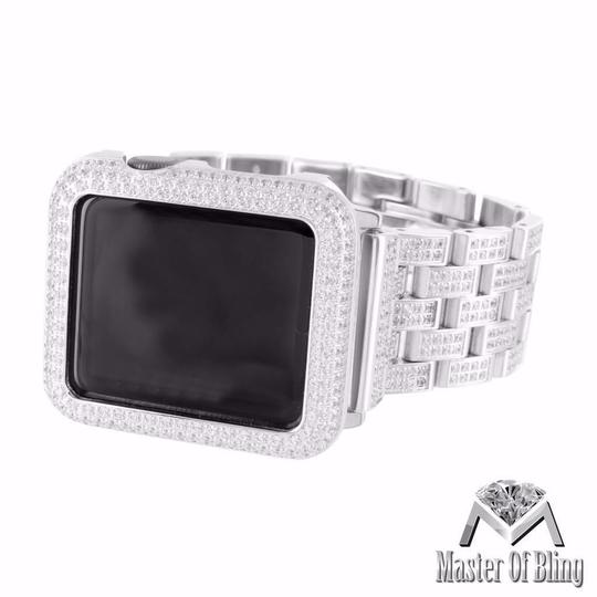 Apple White Gold Finish IOS Apple Watch 38 MM Lab Diamonds 8.5 Ct Iced Out Steel Band