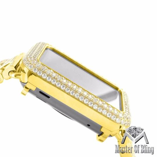Apple Yellow Gold Finish Apple Watch Stainless Steel Case Lab Diamonds IOS Display Men