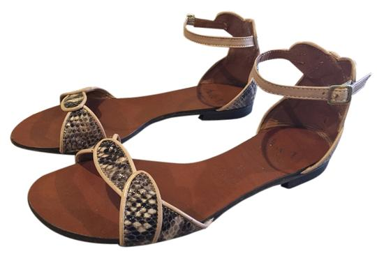 A&M Brown snakeskin, cream piping and ankle straps Sandals