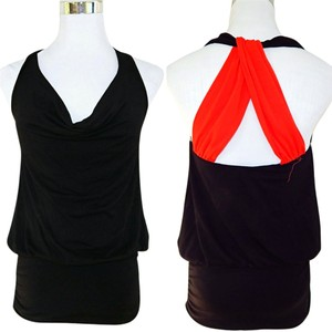 Ella Moss Racer-back Scoop Neck Stretchy Color-blocking Crisscross Strap Top Black
