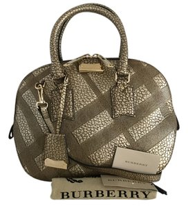 Burberry Orchard Embossed Check Leather Gold Metallic Satchel in Camel Gold