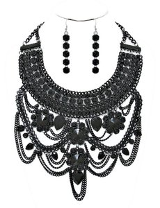 Black Retro Chic Victorian Gothic Tribal Boho Chic Necklace and Earring